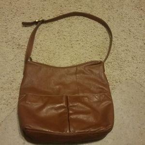Large Brown Pebble Leather Handbag